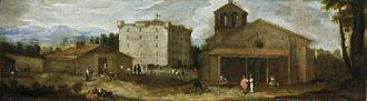 Benito Manuel Agüero - Vista del Campillo, oil on canvas (55 x 198 cm.), El Escorial, now deposited at the Museo del Prado.