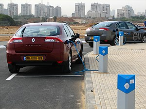 EVs charging at the Better Place visitor centr...