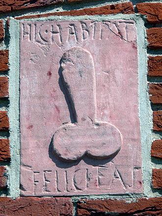"Felicitas - Phallic relief with the inscription ""Felicitas dwells here"""
