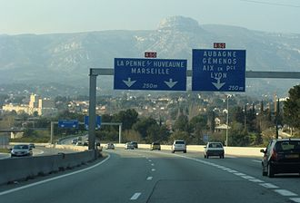 Aubagne - The A50-A52 junction in Aubagne
