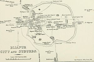 Bijapur - Bijapur City and Suburb, Places of Interest, 1896 map