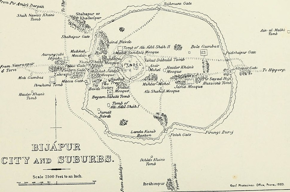 Bijapur City and Suburb Places of Interest 1896 map