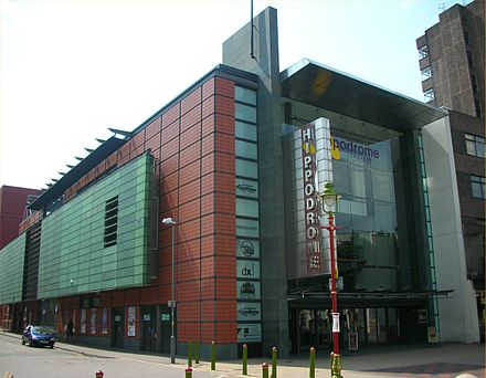The Birmingham Hippodrome, home stage of the Birmingham Royal Ballet, is the busiest single theatre in the United Kingdom. Birmingham Hippodrome.jpg
