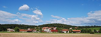Bistrica, Šentrupert - View of Bistrica from the rail line from Sevnica to Trebnje south of the village
