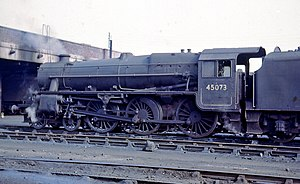 LMS Stanier Class 5 4-6-0 - 45073 at Rose Grove shed, spring 1968. Although a domeless boiler, the casing over the top feed is often mistaken for a dome
