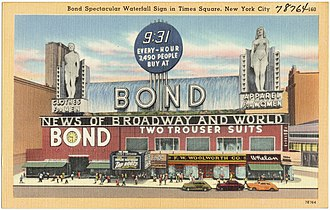 Bond Clothing Stores - Postcard showing the sign during the day.