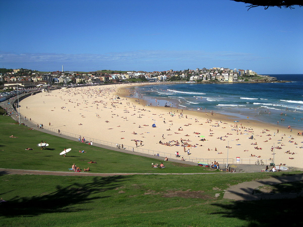 An aerial view of Bondi Beach
