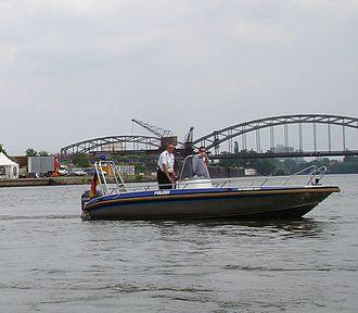 Wasserschutzpolizei - A WSP patrol boat of the Hesse State Police in Frankfurt