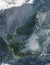Borneo fires and smoke, 2002.jpg