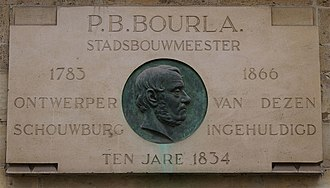 "Pierre Bruno Bourla - Plaque dedicated to Pierre Bruno Bourla on the south side of his Neoclassical Royal Theatre in Antwerp, built between 1827 and 1834. It is known as the ""Bourla theatre"" (Bourla Schouwburg)"