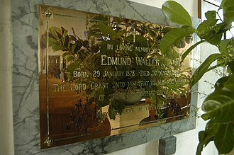 Farmington, Gloucestershire - Brass plaque to Edmund Waller (1828-98) in church of St. Peter's.