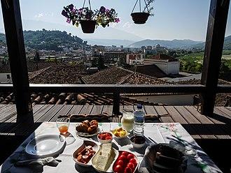 Albanian cuisine - Typical breakfast in Albania.
