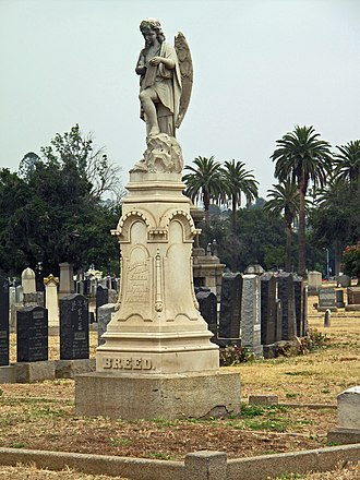 Evergreen Cemetery, Los Angeles - Breed family monument and Japanese tombstones