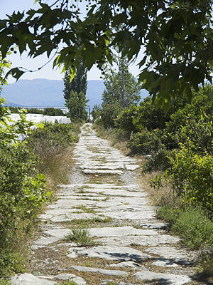 Bridge near Limyra - Ancient paving stones. View to the east, along the greenhouses