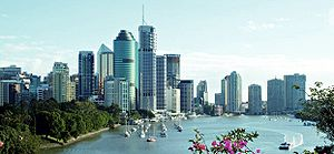 Brisbane central business district, with the B...