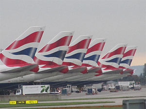 Tails of British Airways Jumbos lined up near ...