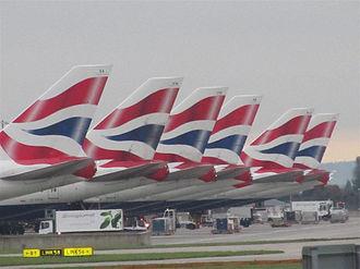 Eweida v United Kingdom - Image: British Airways Boeing 747 400 tails at Heathrow