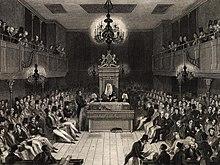 Il presidente presiede le sedute della Camera, come si vede in questa stampa, che commemora l'incendio del 1834, in cui venne distrutta gran parte del palazzo di Westminster