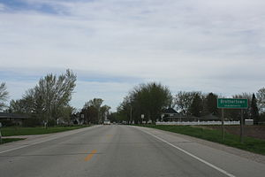 Brothertown (community), Wisconsin - Image: Brothertown Wisconsin Sign US151