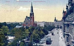 Trams in Szczecin - Tram route on Zwycięstwa square