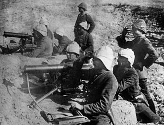 Battle for No.3 Post - Turkish machine-gunners with German officers at Gallipoli