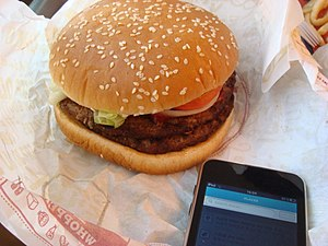 English: A double whopper from Burger King 中文...