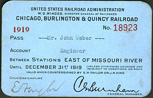 United States Railroad Administration - Chicago, Burlington and Quincy Railroad employee's pass during the time of federal administration in 1919.