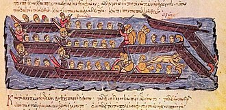 Dromon - Illustration from the Madrid Skylitzes showing the Byzantine fleet repelling the Rus' attack on Constantinople in 941, and the use of the spurs to smash the oars of the Rus' vessels. Boarding actions and hand-to-hand fighting determined the outcome of most naval battles in the Middle Ages.