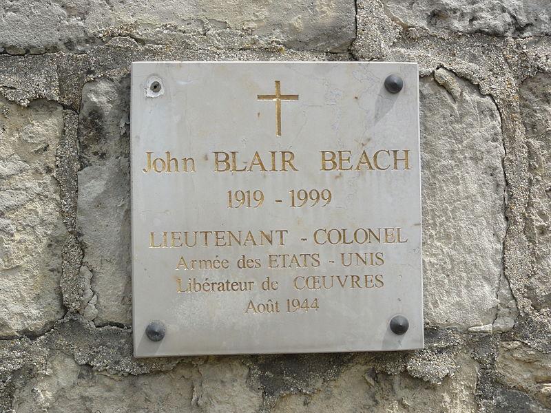 Cœuvres-et-Valsery (Aisne) plaque John Blair Beach, libérateur 1944