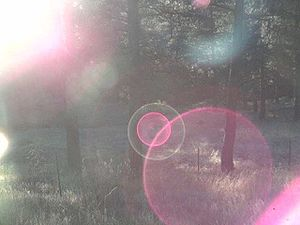 Lens flare - Severe flare in a CCTV camera lens.