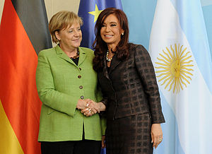 2014 FIFA World Cup Final - Chancellor of Germany Angela Merkel (left) attended the final. However, President of Argentina Cristina Fernández de Kirchner (right) was absent due to illness.
