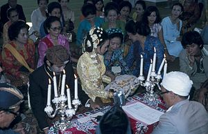 Islamic marital practices - A Sundanese wedding ceremony held inside a mosque in Western Java, Indonesia in 1977.