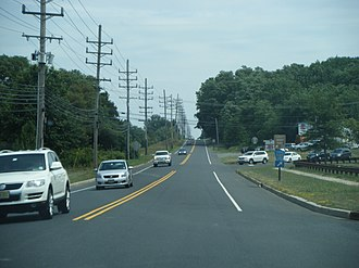 County Route 537 (New Jersey) - CR 537 eastbound at split with CR 524 in Freehold Township