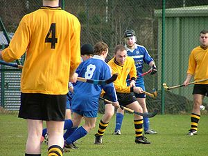 University shinty -  A Varsity match with Glasgow University in action against Strathclyde University