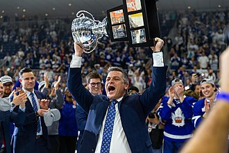 Sheldon Keefe - Keefe with the Calder Cup, after coaching the Toronto Marlies to win the 2018 Calder Cup Final.
