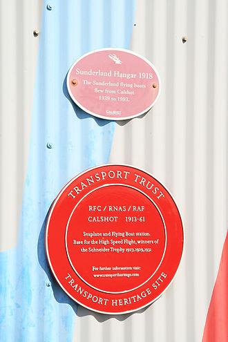 Transport Trust - Transport Heritage plaque on the former Sunderland flying boat hangar at Calshot.