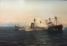 Two ironclad ships fighting