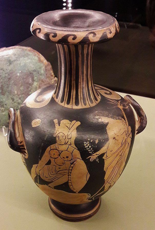 Hydria z wojownikiem oskijskim i młodzieńcem