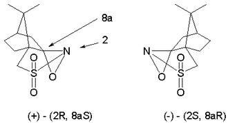 Acyloin - two optical isomers of camphorsulfonyl oxaziridine