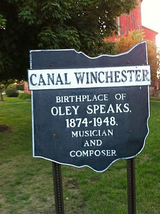Oley Speaks - Town sign in Canal Winchester, Ohio, honoring Oley Speaks