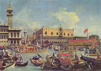 Marriage of the Sea ceremony - Il ritorno del Bucintoro nel Molo il giorno dell'Ascensione (The Return of the Bucentaur to the Molo on Ascension Day, 1730) by Canaletto (1697–1768). Another painting of the same subject by Canaletto, Il Bucintoro al molo nel giorno dell'Ascensione (The Bucentaur at the Molo on Ascension Day), was purchased for £11.43 million by a mystery bidder at a Christie's auction in London on 6 July 2005.
