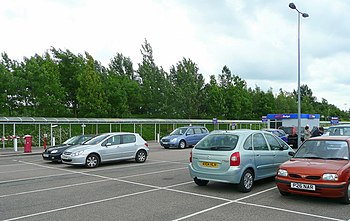 English: Car rental car park, Stansted The are...
