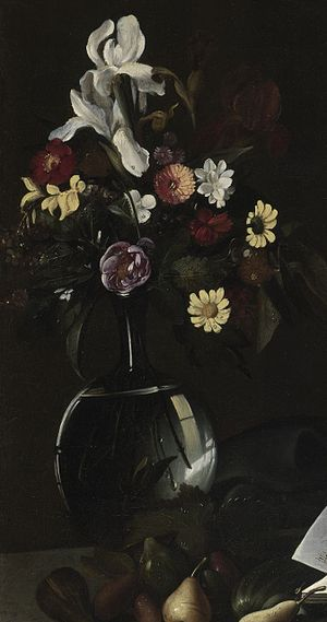 The Lute Player (Caravaggio) - Apollo Lute Player (detail of flowers covered in dew as described by Baglione in 1642)
