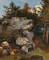 Carl Borromäus Burde Fuchs mit Beute in felsiger Landschaft 1858.jpg