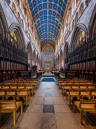 Carlisle Cathedral - The view from the 14th-century choir looking towards the east window – one of the finest examples of Flowing Decorated tracery