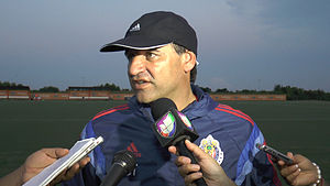 Carlos Bustos - Bustos during his time as head coach of C.D. Guadalajara, speaking to the Houston media after his team's practice at Houston Sports Park on Monday, August 4, 2014.