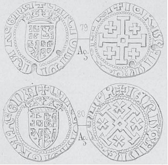 Charlotte, Queen of Cyprus - Silver gros coins of Charlotte. Issued 1458–1460, Cyprus. Obverse: Crowned shield with Lusignan coat of arms, CARLOTA DI GRA REGNA. Reverse: Cross of Jerusalem, IERVZALM E D CHIPR. Diameter 25 mm, Weight 3.96 gr (69.5 Enetian grains).