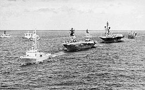 Carriers and escorts near Hawaii during RIMPAC 1972.jpg