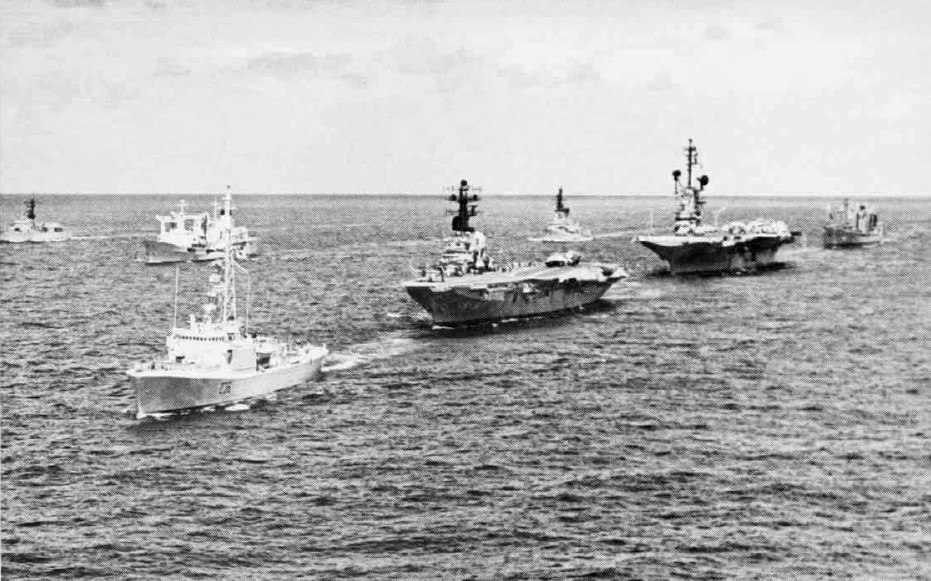 Carriers and escorts near Hawaii during RIMPAC 1972