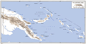 A map of eastern New Guinea, the Bismarck Archipelago and Solomon Islands with towns and elevations marked